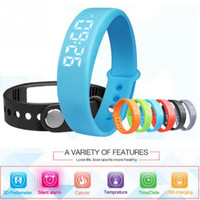 Wholesale Heart Thermometer - W5 Smart Bracelet 3D Pedometer Sleep Tracker Thermometer Smart Wristband Fitness Tracker LED Smart watch For Android iphone