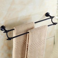 Wholesale Towel Rack Pole - 2 Pole Tower Holder Solid Brass Towel Rack Antique Wall Mounted Bathroom Non-smearing Wall Suction Hair Dryer Shelf