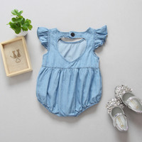 Wholesale Cute Christmas Baby Girl Clothes - Everweekend Baby Girls Ruffles Denim Rompers Back Love Hollow Summer Clothing Cute Baby Fashion Clothes