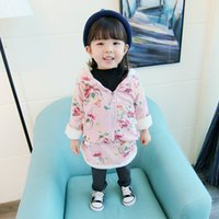 Wholesale Toddler Girls Winter Dress Coats - Baby Clothing sets 2017 Winter Warm Girls Coat Fleece Long Sleeve Flowers Dress Pants Hooded toddler Girls kids Top+Pants suit Fit 0-3T Baby