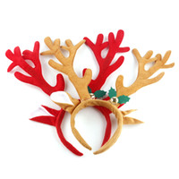 Wholesale Hoop Antlers - Christmas Decoration Deer Bell Large Antlers Christmas Head Hoop Buckle Xmas Party Suppliers Holiday Gifts 0708097