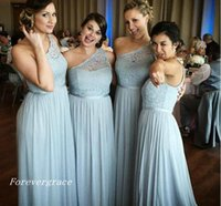 Wholesale garden party dresses - 2017 Cheap New Arrival One Shoulder Bridesmaid Dress A line Lace Country Garden Wedding Party Guest Maid of Honor Gown Plus Size Custom Made