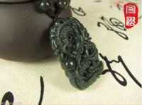 Wholesale Nephrite Jade Beads - Chinese 100% Natural Nephrite Jasper Jade Dragon Play bead pendant necklace