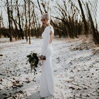 Wholesale Strech Dresses - 2017 Simple Elegant Long SLeeve Open Back Plain Wedding Dress Strech White Gorgeous Backless Bridal Gowns