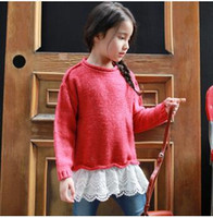 Wholesale Sweater Mother Daughter - Mother and Daughter Christmas Sweater Autumn Girls Splicing Lace Pullovers Women Lace Hem Long Sleeve Knitting Sweater Family Clothes C1373