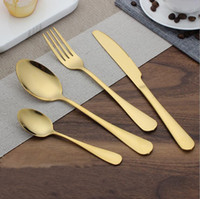Wholesale Stainless Steel Tea Spoon - High-grade Gold Cutlery spoon fork knife tea spoon Matte Gold Stainless Steel Food Silverware Dinnerware Utensil