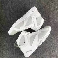 Barato Sapatos De Couro Branco E Puro-Venda por atacado DS Air Retro 7 PURE MONEY Men Basquete Shoes Branco Metallic Silver Real Leather Sneakers With Original Box