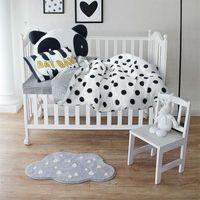 Wholesale Black Baby Twins - Wholesale-Papa&Mima Simple black dots white Crib Set 3 4pcs cotton linens bedding set for babies toddlers kids bedlinens coverlet cushion