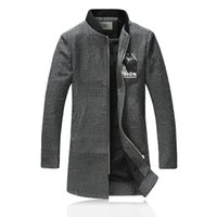 Wholesale Men S Woollen Coats - Wholesale- 2016 new style winter Men's fashion leisure printing Men' s thick Trench coat woollen overcoat man coat jacket size M-4XL