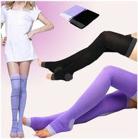 Wholesale Overnight Slimming Socks - Wholesale- 5Pairs Lot Wholesale New Stocking Sexy 420D Overnight Slimming Knee High Compression Stocking Nylon Slim