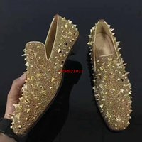 Wholesale Gold Heels Spikes - Famous Red Bottom Loafers Dandelion Strass Spikes ,Fashion Slip-On Low Platform Oxfers Shoes, Men Business Wedding Dress Shoes