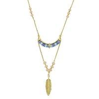 Wholesale Necklace Feathers Gold Long - Retro Style Gold Color Feather Long Pendant Necklaces