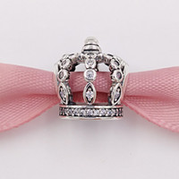 Wholesale crowns charms resale online - Genuine S925 Sterling Silver Beads Fairytale Crown Clear Cz Fit European Style Brand Bracelets Necklaces CZ