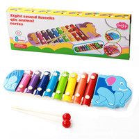 Wholesale Learning Instruments - Baby's Wooden Musical Toys Trailer 8-Note Xylophone Children Hand Knocking Piano 8 Kinds Animal Cartoon Music Instrument Learning Tool Toys