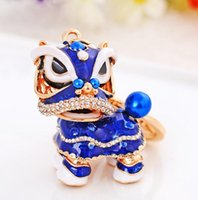 Wholesale lions keychain - Chinese Style Animal Keychain Lion Crystal Enamel Key Chain Lucky Car Keyring Wholesale Chritmas Gift New Year gift