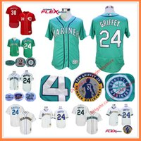 Wholesale Short Men Flag - Ken Griffey Jr Jersey with Number Retirement & 2016 Hall Of Fame Patch MLB Seattle Mariners Cincinnati Reds 30# Green Cream Blue Teal Flag