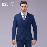 Wholesale Slim Fit 3pcs - Wholesale- OSCN7 3pcs 12 Color Suit Men Slim Fit Notch Lapel Business Mens Suit Wedding Groom Dress Suits For Men (blazer+vest+pants) S-4XL
