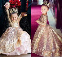 Niñas vestidos de diseno de lentejuelas España-Sparkly Oro Sequined Little Princesa Long Sleeves Niñas vestido de desfile Vintage Party Flower Girl Pretty Vestido para Little Toddler Kid