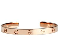 Wholesale Titanium Love Rings - 18k rose color gold couple love open bracelet Eternity ring foreign trade bracelet manufacturers wholesale full