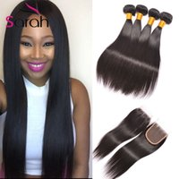Wholesale Wholesale Black Natural Hair Products - 7A Brazilian Straight Hair Bundles With Closure Virgin Human Hair Products Double Weft Black Straight Hair With Front Lace Closures 3 Pcs