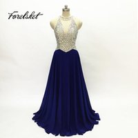 2017 New Navy Blue Red Halter Prom Kleider Atemberaubende Perlen Sexy Sheer Korsett Royal Blue Backless Lange Abendkleider 2017 Luxuriöse