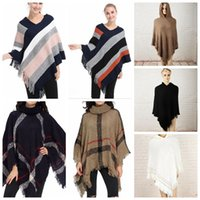 Wholesale Wool Knit Poncho - Plaid Poncho Grid Shawl Cardigan Tassel Wraps Women Cloak Coats Sweater Knit Scarves Tartan Winter Cape Blankets 32 Styles 10pcs OOA3270
