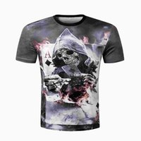 Wholesale Free Poker Flash - 2017 Summer 3d T-Shirt Men Devil Skull Poker Printing Funny T Shirt Short Sleeve Personality Hip Hop Unisex Tops Free Shipping 17310