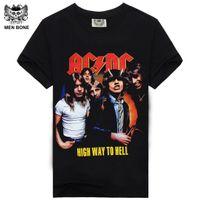 Wholesale Ac Dc Tshirt - Summer Style Fashion Rocksir Men T Shirt Black T-Shirt Tshirt Men's Shirt Cotton AC DC Black Ice Print Rock Hip Hop