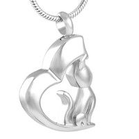 Wholesale Wholesale Pet Urns - IJD8129 WHOLESALE! Cat Dog Cremation Urn necklace Women Charm,Stainless Steel Memory Urn Locket Keepsake Jewelry Ashes Necklace for Pet