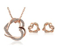 Wholesale Swarovski Crystal Necklace Heart - Wholesale Price Gold Silver Plated Heart Austrian Crystal Necklace Earrings Jewelry Sets made With Swarovski Elements for Women Bridal Sets