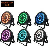 Wholesale 24 Watt Led - 6XLOT 24 x 3 Watt FLAT LED RGB PAR Spot light in Black Housing Noise-Free Operation Adjustable Twin Brackets, DMX IN OUT TP-P03