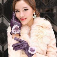 Wholesale Genuine Rabbit Fur Gloves - Wholesale- 1Pair Leather Gloves Winter Warm Women'S Genuine Leather Gloves Rabbit Fur Ball