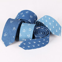 Wholesale Anchor Neck Ties - European and American casual fashion personality denim skull anchor stamp Mens Tie