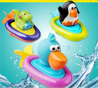 Wholesale Pull Girl - Baby boys girls Lovely Animal Play Water Pull String Penguin Boats toy for Children Baby Bath Toys For bathroom YH1014