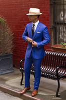 esmoquin azul vintage al por mayor-Classic Royal Blue Groom Tuxedos Cheap Slim Fit con solapas con muesca 2018 Vintage Wedding Prom traje de los hombres (chaqueta + pantalones + corbata)