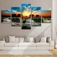 Wholesale Elephant Oil Canvas Painting - 5 piece canvas art HD Print Free Shipping Twilight Waterfall Elephant MODULAR PICTURES home decoration nordic modern wall picture unframed