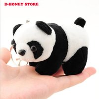 Wholesale Cartoons Cars Kids - New Small 9cm Panda Keychain Pendant Cute Kawaii Quality Baby Children Plush Toys Hot Sell Kids Toys for Children