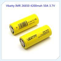 Wholesale High Power Li Ion Battery - Vbatty 26650 4200mAh 50A 3.7V li-ion lithium High drain battery for vape mod for 26650 power bank