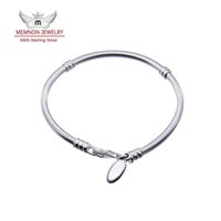 Wholesale European Charm Bead Chain - Memnon Jewelry Genuine 925 Sterling Silver Chain European Fashion Bracelets for women with Clasp fit brand charms beads DIY jewelry YL002