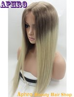 Wholesale Two Tone Blonde Hair Sale - White Women's Ombre 60# Blonde Virgin Human Hair Silk Top Full Lace Wigs 130% Density Two Tone Glueless Brazilian Hair Lace Front Wigs Sale