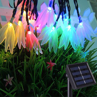 Großhandel-April-Blume Solar-Lampen Power LED String Girlanden Lichter Solar Garten Weihnachten Lichter Holiday Outdoor Fairy Lights Wasserdicht