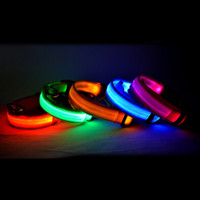 LED Nylon Pet Dog Collar Night Safety LED Light Flashing Glow no escuro Small Dog Pet Leash Dog Collar Flashing Safety Collar mix color
