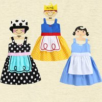 Wholesale Maid Clothing - Girls cute princess maid dress Snow white Alice Fairy Princess cotton Apron skirt kids cute party festivals cosplay clothing