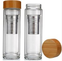 Wholesale basket bamboo - 25pcs lot Free shipping Wholesale 400ml Bamboo lid Double Walled glass tea tumbler. Includes strainer and infuser basket