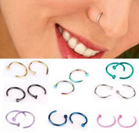 Wholesale body jewelry hoops - Hot Nose Rings Body Piercing Jewelry Fashion Jewelry Stainless Steel Nose Open Hoop Ring Earring Studs Fake Nose Rings Non Piercing Rings