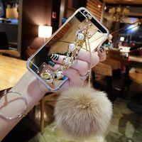 Wholesale Foxed Mirror - For Huawei p8 p9 p10 lite plus mate 7 8 9 Luxury pearl Chain Tassel fox puff pompoms fur ball soft mirror case