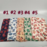 Wholesale red sarong wrap - Wholesale- New rose printed floral viscose shawl lady pareo beach sarongs women fashion head wrap muslim flowers voile hijab scarf scarves