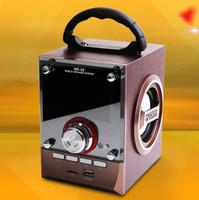 Wholesale mini portable multimedia - Speaker MS-18BT   CV-18   CV-356 LED Wood Mobile Multimedia Wireless Bluetooth Portable Party Speakers USB TF AUX FM Outdoor DJ Super Bass