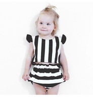 Wholesale Stripe Ruffle Pants - Baby Girls Romper summer new toddler kids fly sleeve vertical stripes printed tops + cotton ruffle PP pants 2pcs sets INS kids outfits T0907