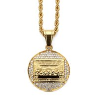 Wholesale Stainless Necklace Bling - Women Stainless Steel Men's Jesus The Last Supper Pendant Necklace Rhinestone Hip Hop Fashion Round Bling Vintage Jewelry